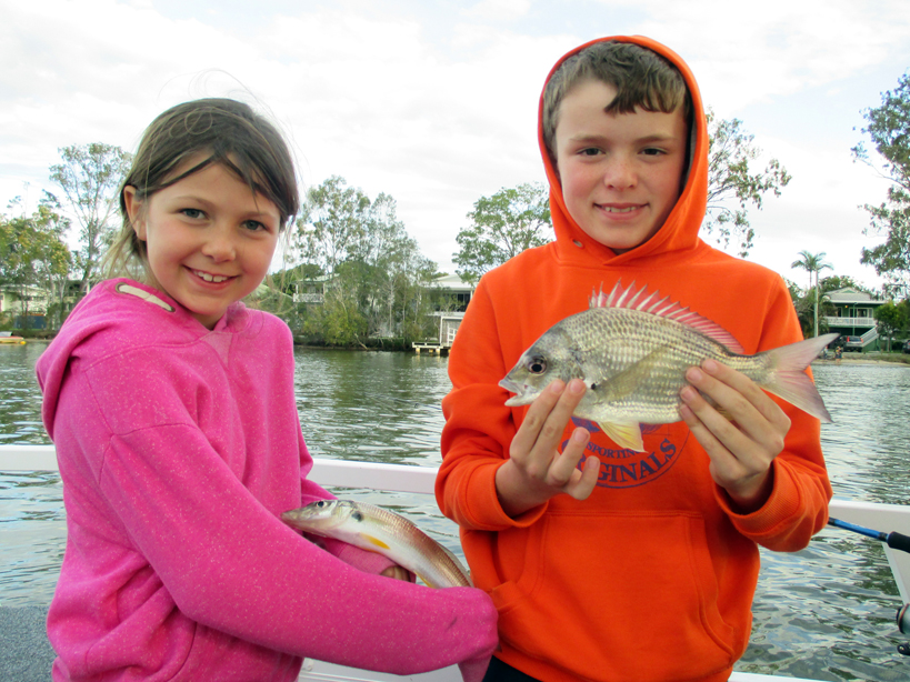 Tom and Annabelle both from Brisbane with a whiting and a bream.