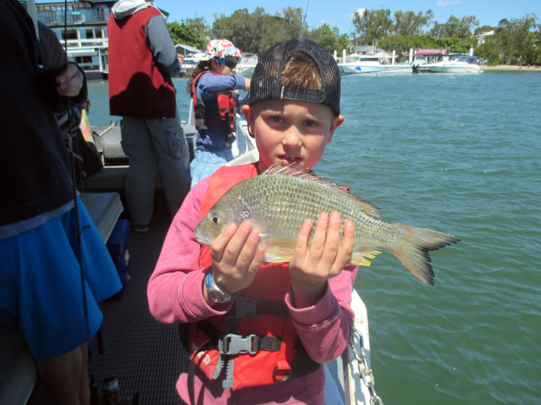 Tyler from Melbourne landed this Ripper 31cm Bream just off the boathouse.